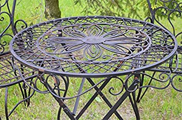 Table de jardin rond terrasse vintage rustique metal fer forge brun ...