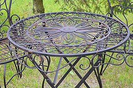 Table de jardin rond terrasse vintage rustique metal fer ...