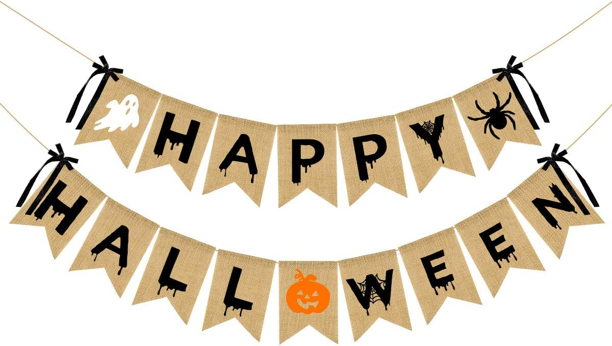 Happy Halloween Burlap Banner- Halloween Bunting Banner with Pumpkin Spider Ghost Sign for Halloween Party Decorations,Halloween Party Banner for Mantle Decor