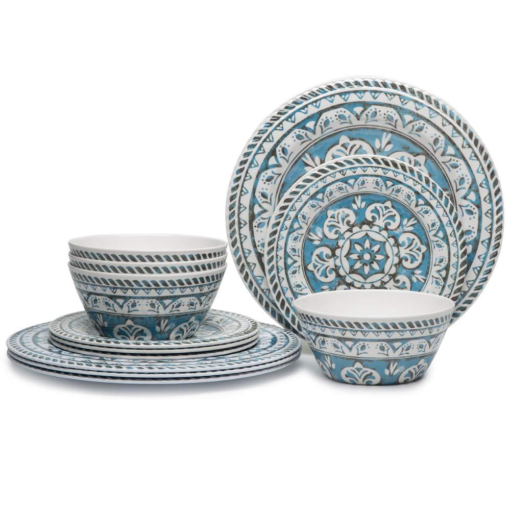 Hware 12 Pcs Melamine Break-Resistant Indoor Outdoor Dinnerware Set Service For 4 Round Pattern,Blue