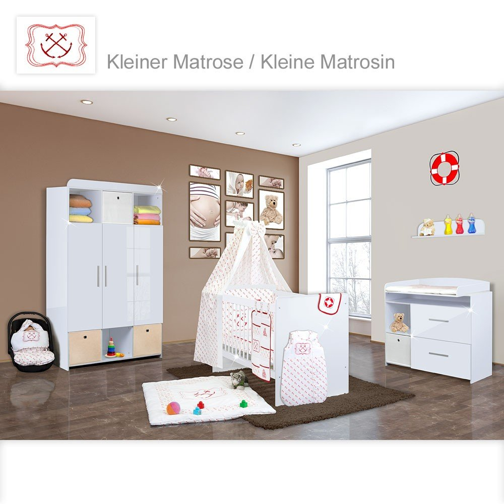 Babyzimmer Mexx in Weiss Hochglanz 11 tlg. mit 3 türigem Kl. + Kleiner Matrose Rot