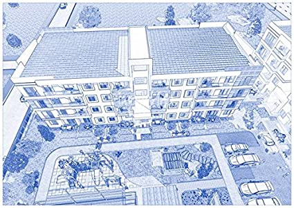 Amazon wall art print entitled blueprint drawing of modern wall art print entitled blueprint drawing of modern apartment complex no 2 by celestial images malvernweather Images