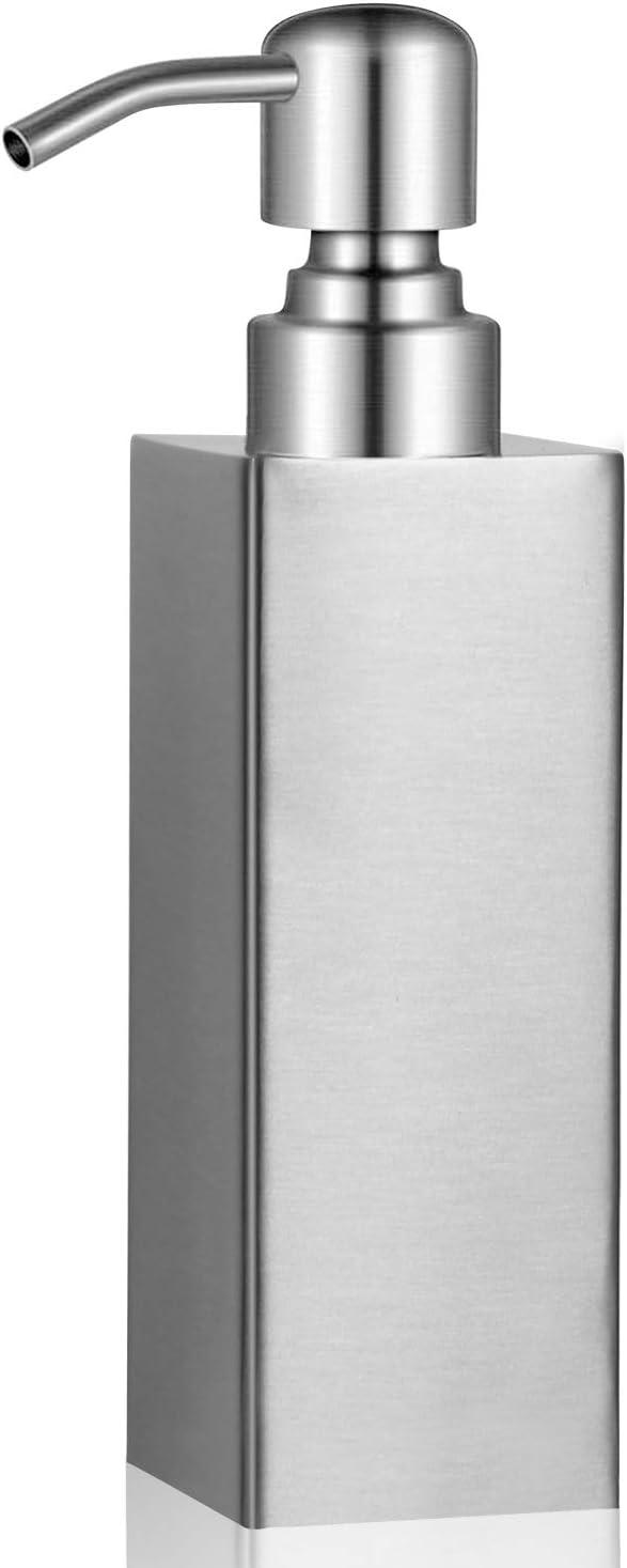 Stainless Steel Soap Dispenser - BabyElf - Refillable Liquid Hand Soap Dispenser Perfect for Kitchen, Bathroom, Hotel, Laundry (8.45Ounce / 250ML)