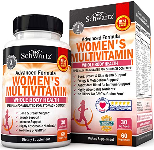 Multivitamin for Women – Energy, Immune & Joint Support Supplement – with Vitamin D3 for Skin, Bone and Breast Support – Once Daily – Formulated for Stomach Comfort – Promotes Whole Body Health