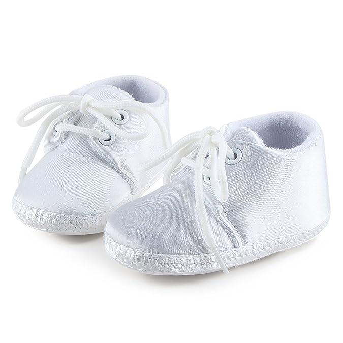 DELEBAO Blanco Zapatos de Bebe Bautismo Zapatos Primeros Pasos para bebé Niño Zapatos de Suela Suave Zapatillas Baby