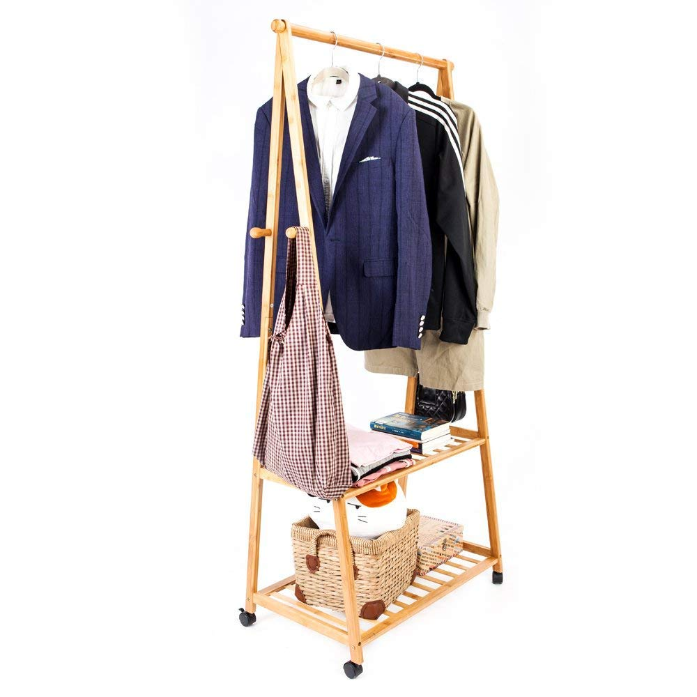 Bling Bling Bamboo Garment Rack 2-Layer Portable Practical Storage Clothes Hanger with Wheel Wood Color