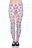 Women's Full Print Leggings Jegging Stretchy Trousers Skinny Pants Workout Triangels Pink [027]