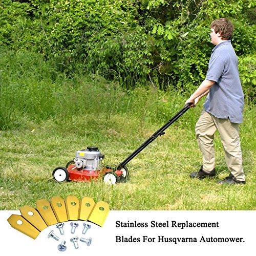 Magicfun Cuchilla de Repuesto para Husqvarna Automower, 30 Hoja De Repuesto de cortacésped + Tornillos para cortacésped en Jardín
