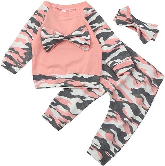 BOBOLover Ropa para Niñas, Bebé Camuflaje Mariposa Nudo Manga larga Capa + Pantalones + Cinturón de Pelo Tres Piezas Conjunto (0-6 Meses): Amazon.es: Ropa y accesorios