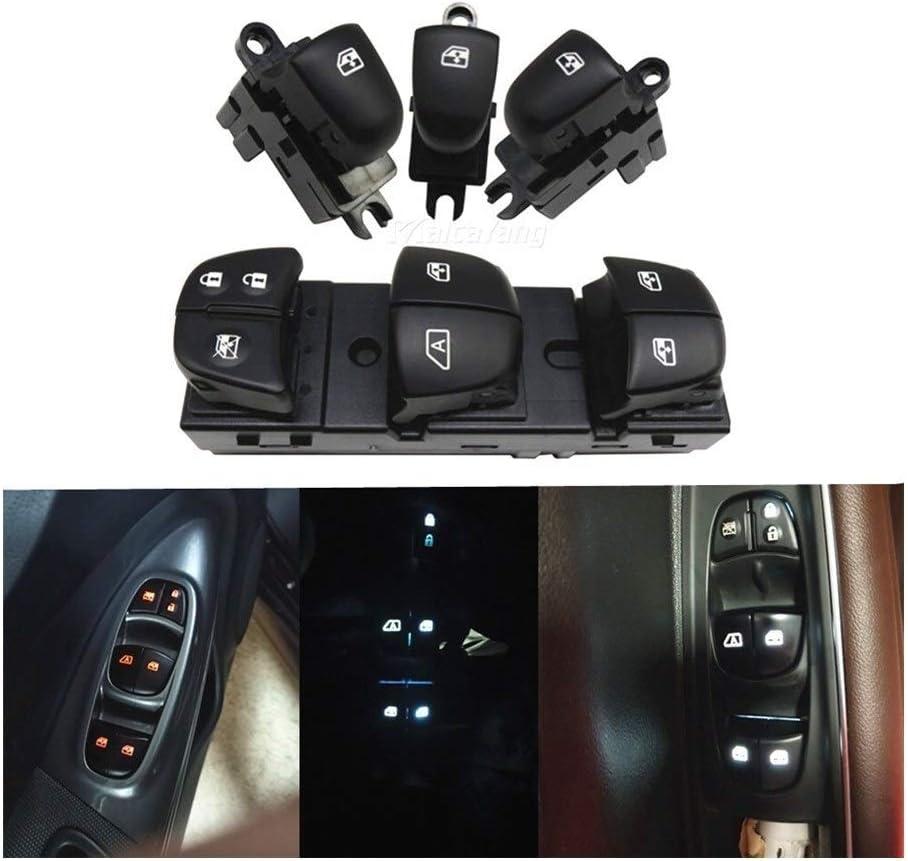 4PCS Elevalunas Interruptor del Lado del Conductor de Ajuste for el Nissan Qashqai//Altima//Sylphy//Tiida//X-Trail Rojo//Blanco//Azul de Hielo Luz KUANGQIANWEI Botonera elevalunas 1 Set