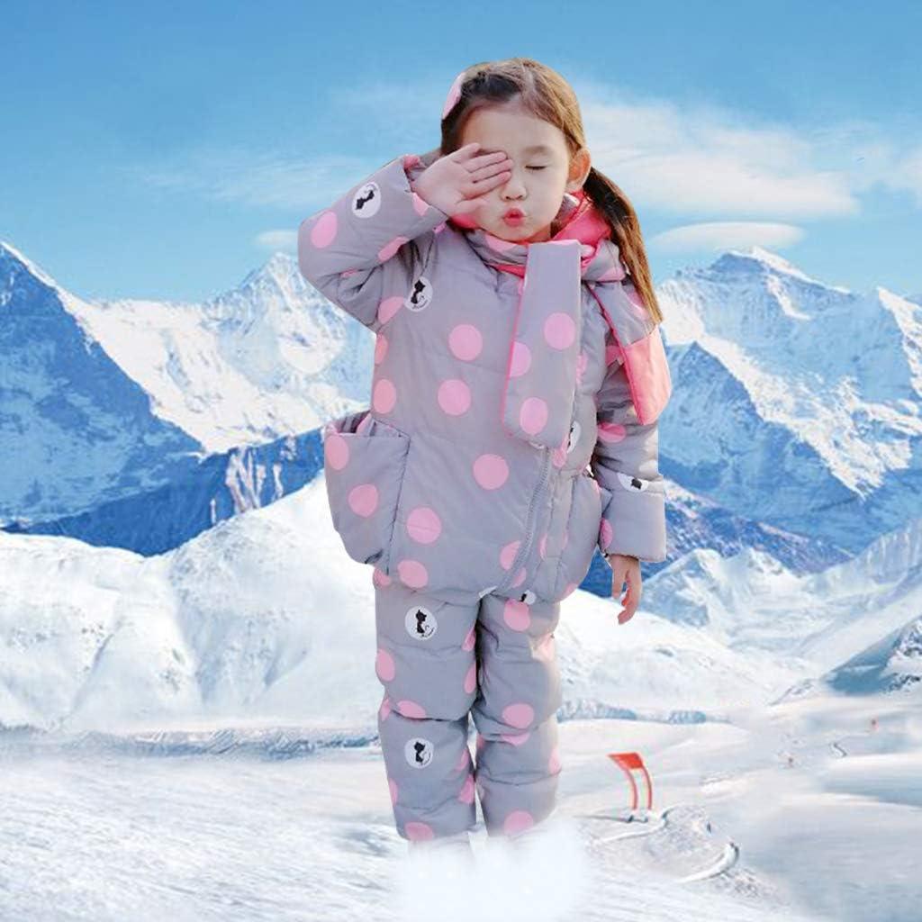 Schneehosen Vimukun Baby Winter 3 St/ück Schneeanzug Kapuze Daunenjacke Schal Kinder Skianzug Outfit Bekleidungssets