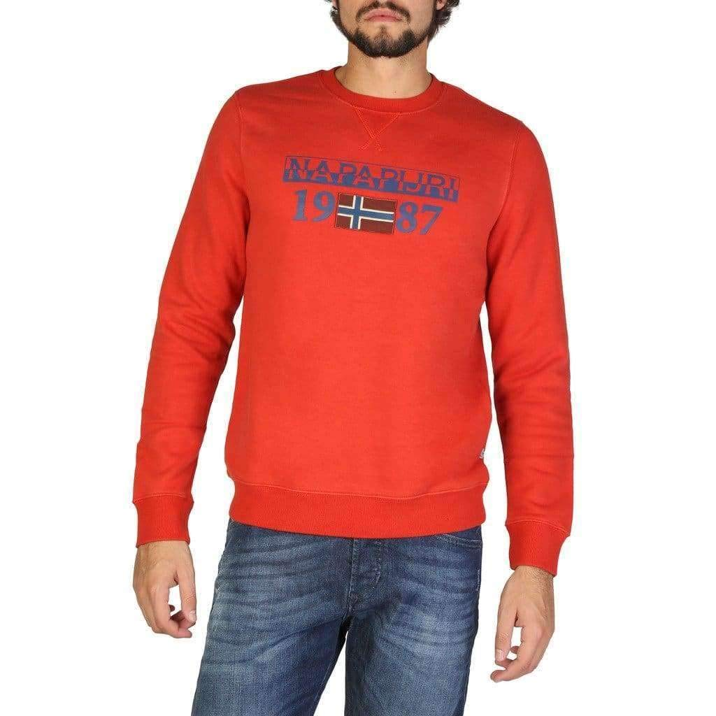 Orange rouge M Napapijri Berthow Logo Crew, Sweat-Shirt Homme