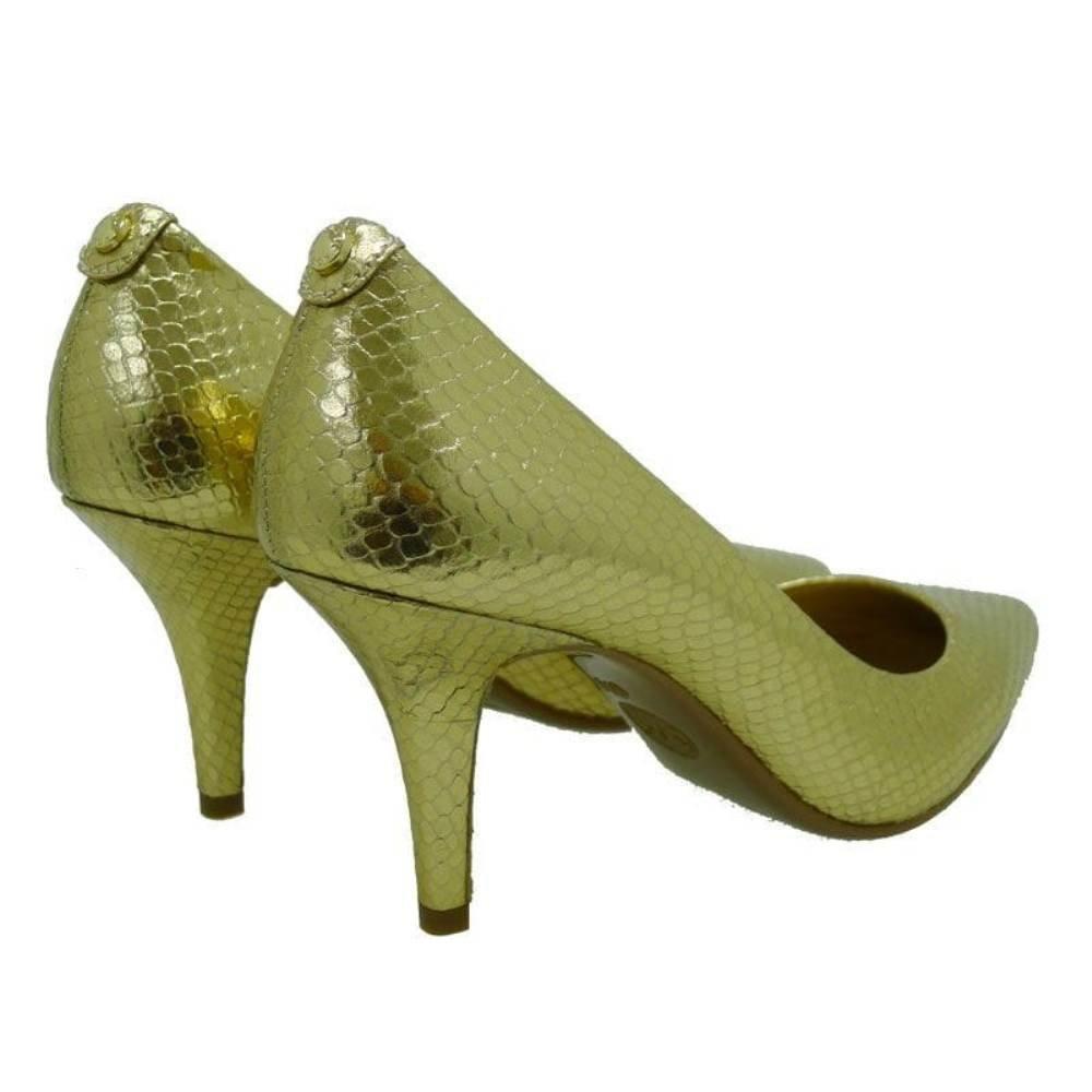 Zapato de tacón dorado Michael Kors Mk-Flex Mid Pump lFasg