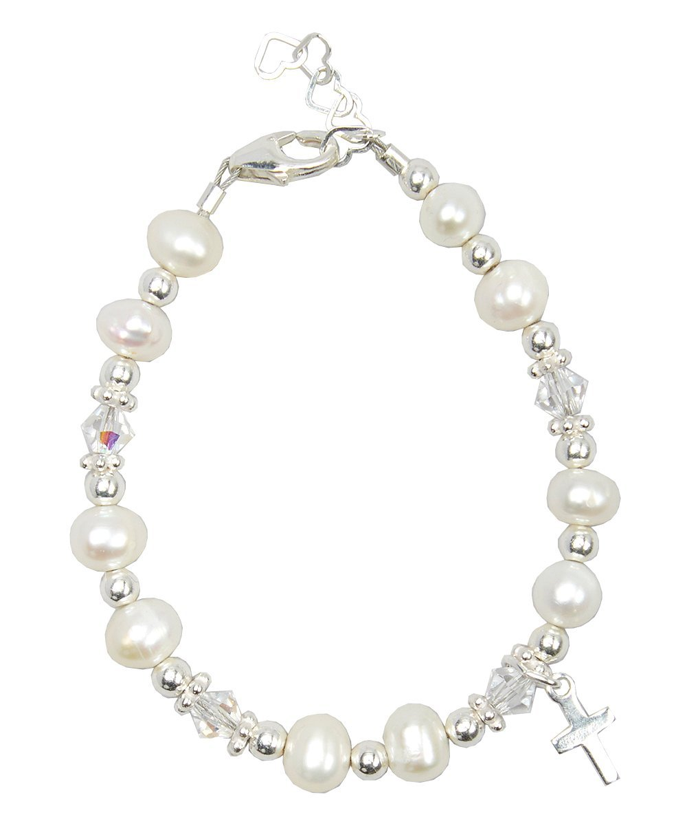 Crystal Dream Christening Clear Swarovski Crystal with Cultured Fresh Water Pearls and Sterling Silver Cross Charm Luxury Baby Unisex Bracelet (BFWCC_S+)