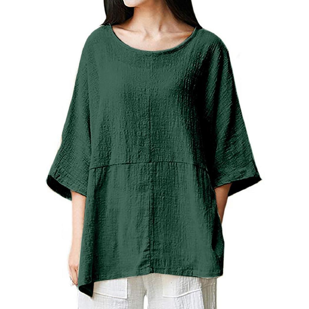 c5beb01fae8c1 Women linen tops shenpr loose solid round collar sleeve cotton linen tunic  shirts blouse for summer