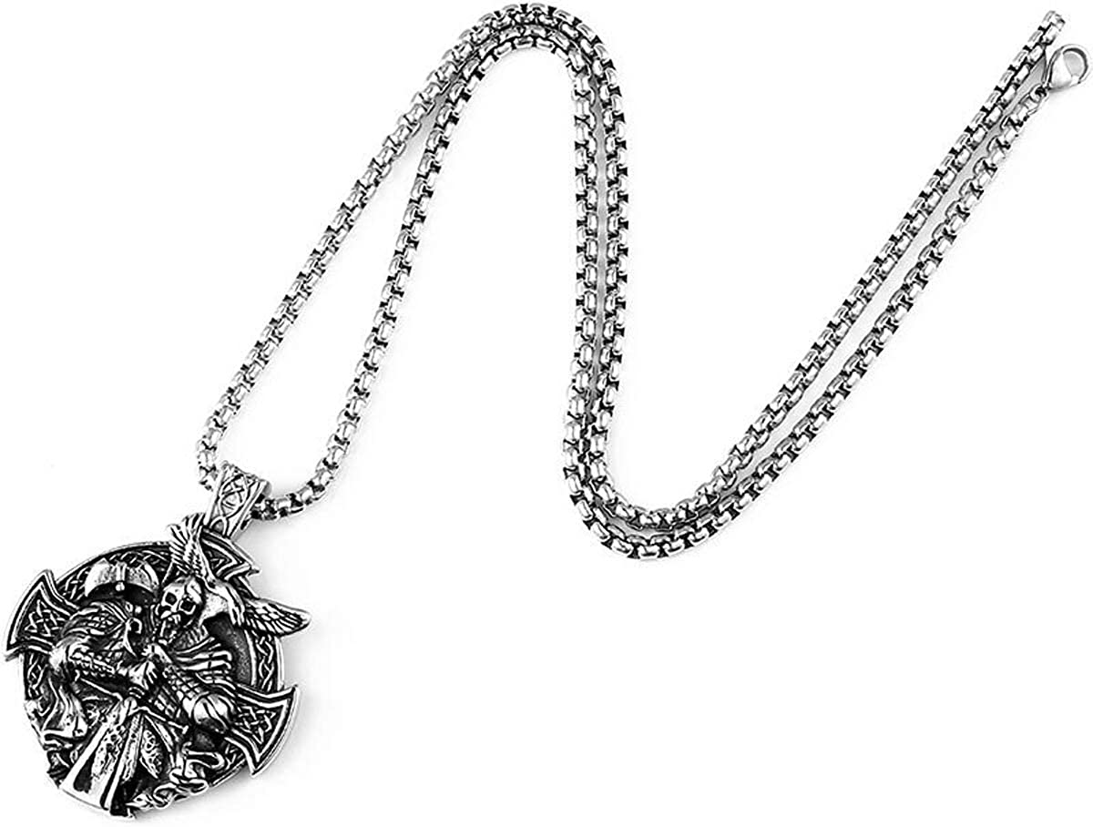 BAVAHA 316L Stainless Steel Norse Vikings Pendant Necklace Odin God Head Men Amulet Original Animal Fashion Jewelry