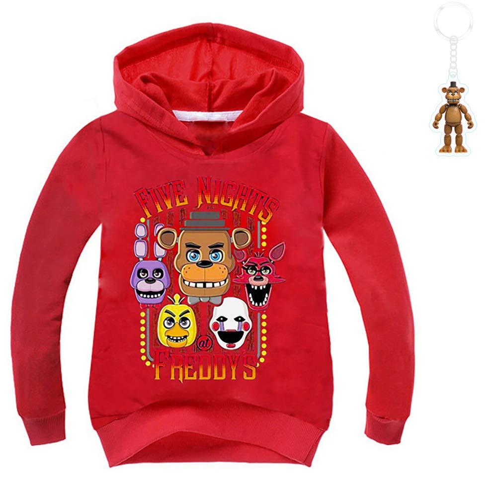 5, Red Boys Five Nights at Freddys Thin Cotton Hoodie Sweatshirt