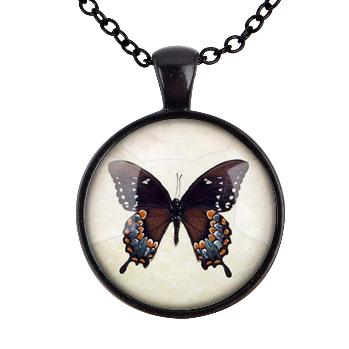 Family Decor Ancients Butterfly Pendant Necklace Cabochon Glass Vintage Bronze Chain Necklace Jewelry Handmade