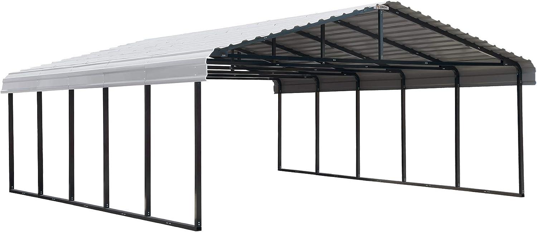 Arrow 20' x 24' 29-Gauge Metal Carport with Steel Roof Panels, 20' x 24', Eggshell