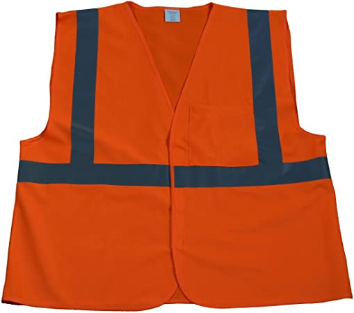 Petra Roc LVM2-CB2-S//M ANSI Class 2 Safety Vest with Orange Contrast Binding Lime Mesh Small//Medium