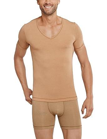 f6d15d0c3cf571 Schiesser Herren Personal Fit Unterhemd V-Shirt Hautfarben Optimales V-Ausschnitt  Unterziehshirt für