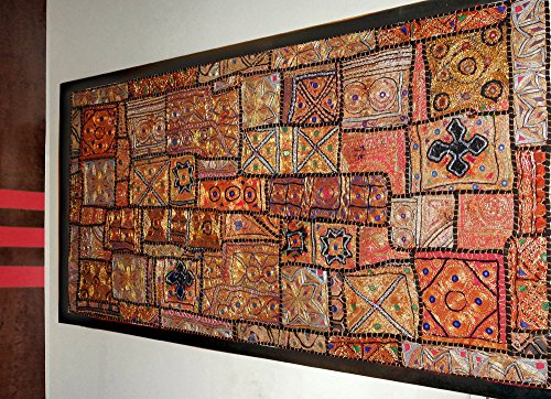 Indian Home Decor Antique Design Fine Kaali Zari Wall Hanging Tapestry with Heavy Embroidery, Zari, Sequins, Beads & Old Sari Patchwork - 25 X 50 Inches