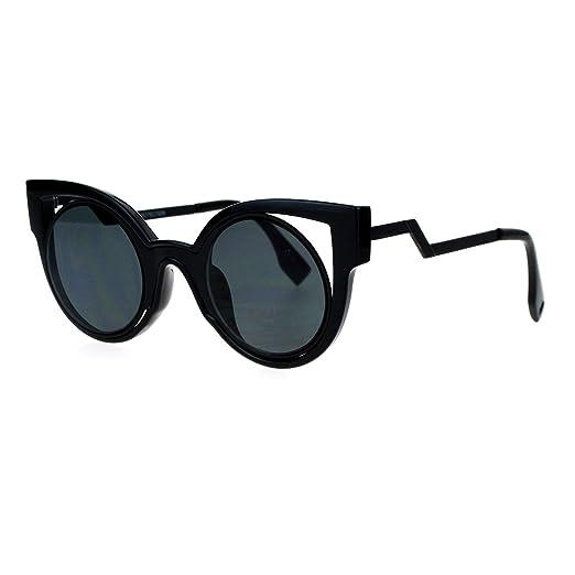 f68aceb3b Womens Fashion Sunglasses Round Cateye Double Frame Zig Zag Design Black  Black
