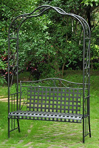 International Caravan 511197-OG-165267-O-852768 Iron Outdoor Arbor Bench, Verdigris