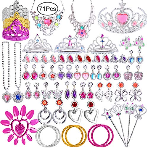 Hicdaw 71PCS Princess Pretend Jewelry Toy Girls Dress Up Jewelry with Princess Wand Tiara Necklace Earrings Rings Bracelets for Birthday Party Favor Gift for -