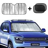 #9: Hippih Car Windshield Sunshade + Bonus Product Foldable Reflective Sun Visor Universal Fit Hassle-Free Car Sun Shade Keeps Your Vehicle Cool Excellent UV Reflector