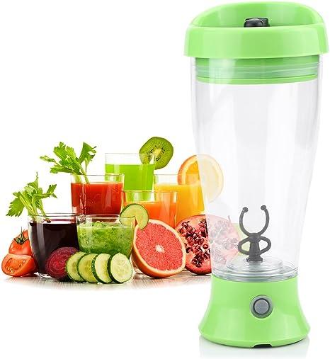 Proteínas Shaker Botella Eléctrico Vortex Mixer para Jugo, Cóctel, Café, Té, Proteína / / 300-400ML / Soporte de baterías AA / / BPA Gratuito(Verde)