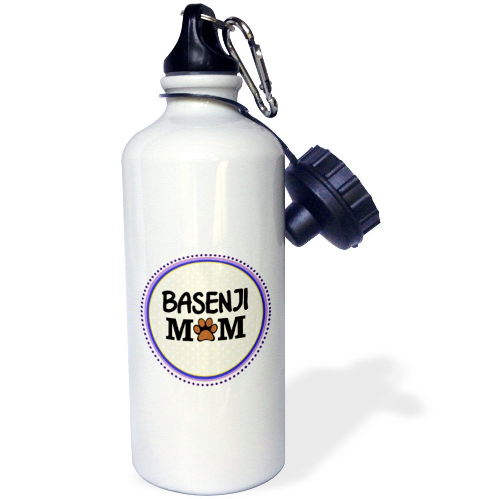 3dRose wb/_151686/_1Basenji Dog Mom-Doggie mama by breed-paw print mum-doggy lover love mother proud pet owner Sports Water Bottle 21 oz White