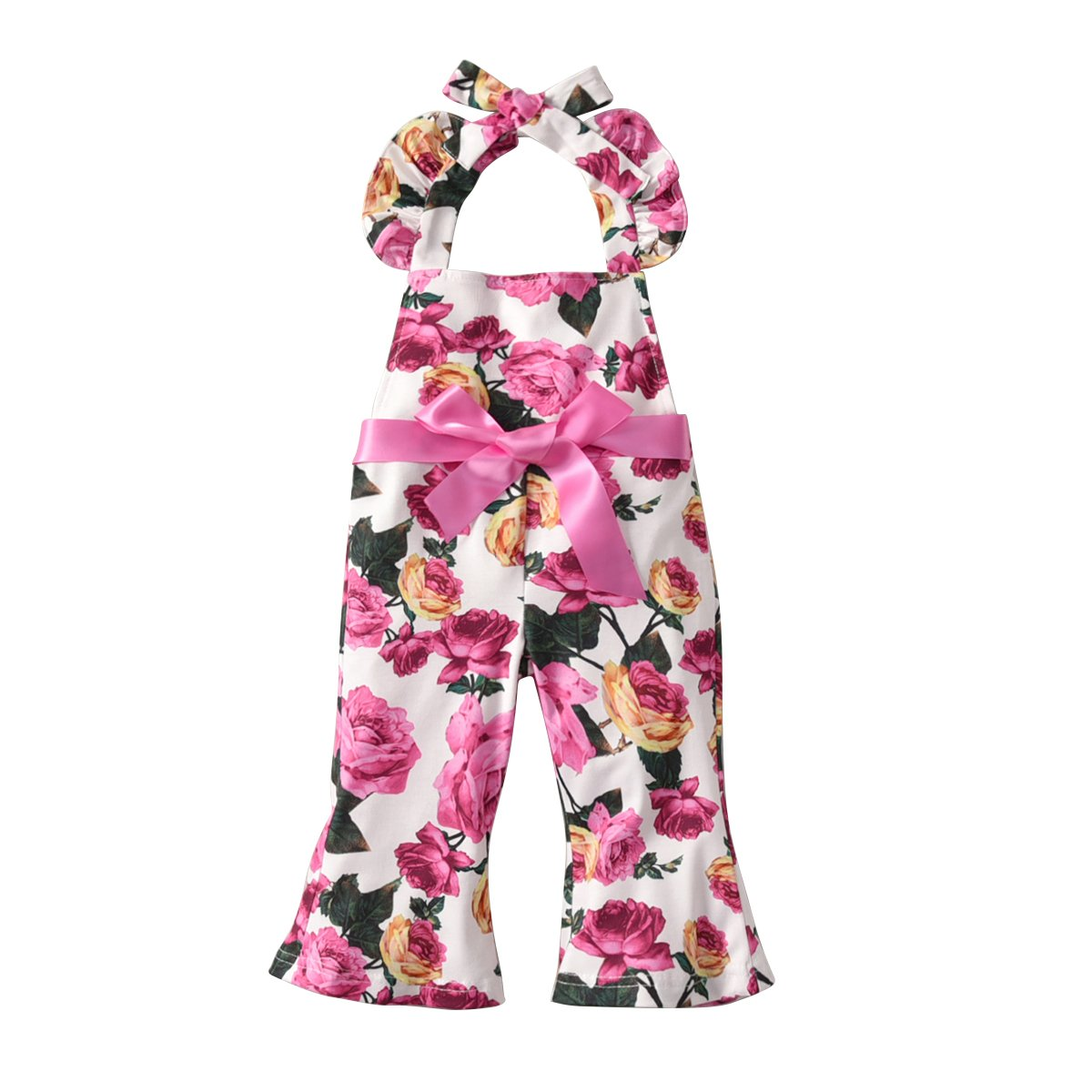 Cute Summer Infant Kid Baby Girl Romper Jumpsuit Ruffled Backless Romper Long Loose Pants Halter Outfit
