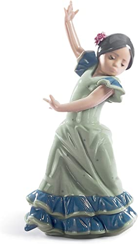 LLADR Lolita Flamenco Dancer Girl Figurine. Blue. Porcelain Flamenco Figure.