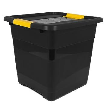Kunststoff Box Aufbewahrungsbox Deckel Schwarz Archivbox Multibox