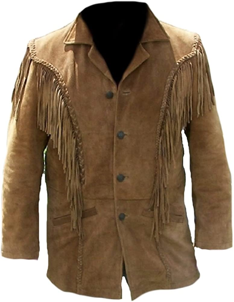 60s 70s Men's Jackets & Sweaters Classyak Mens Western Fringed Suede Coat $155.00 AT vintagedancer.com