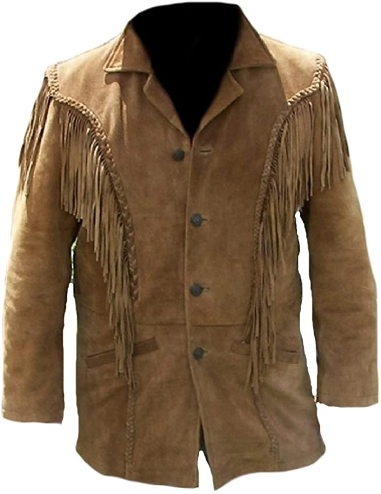 Hippie Dress | Long, Boho, Vintage, 70s Classyak Mens Western Fringed Suede Coat $155.00 AT vintagedancer.com