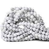 """Qiwan 60PCS 6mm Gorgeous Natural White Howlite Round Beads Gemstone Loose Beads for Jewelry Making 1 Strand 15"""""""