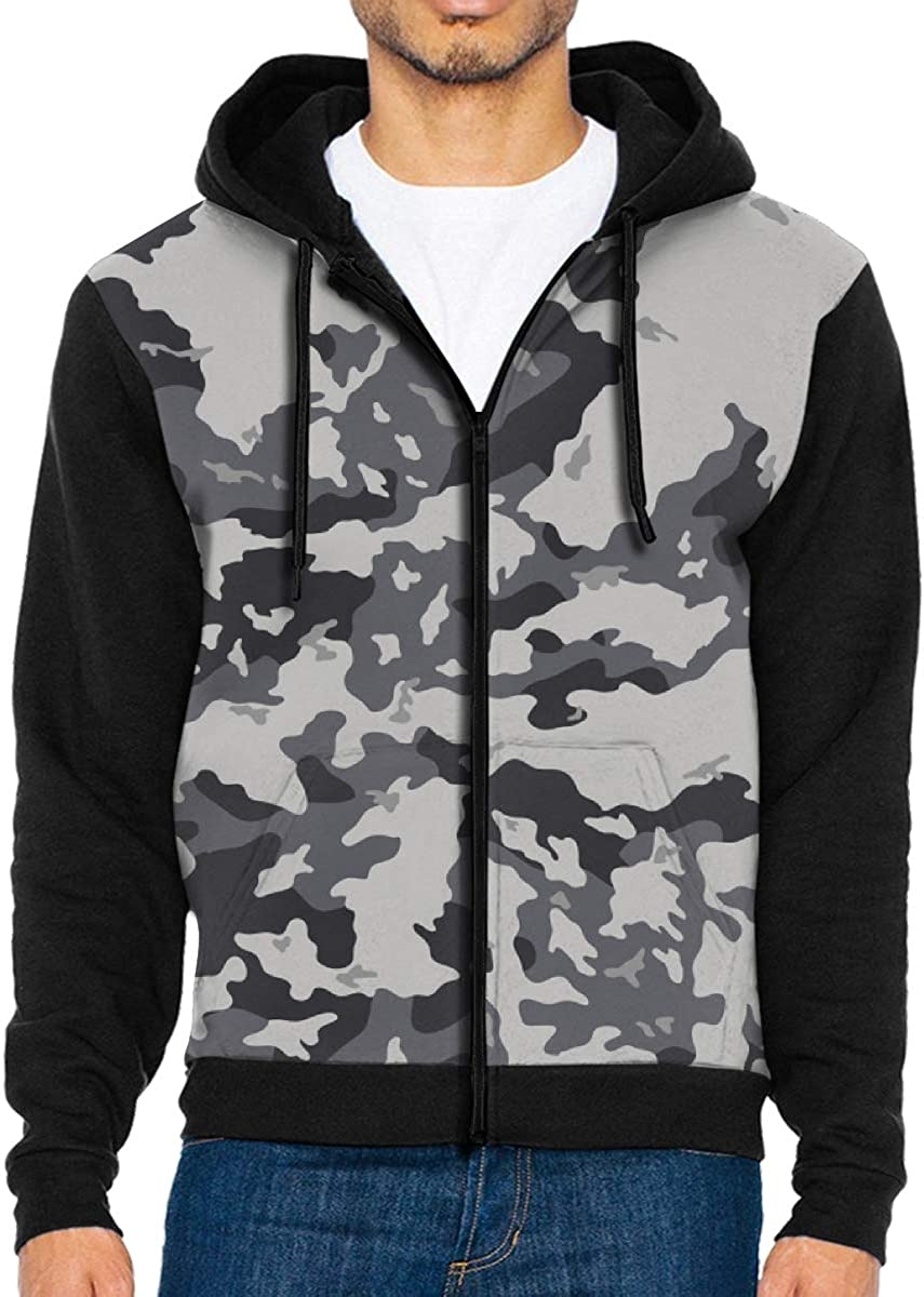 shirt home Mens Grey Camouflage Abstract 3D Hoodie Full Zip Print Sweatshirts Pullover Casual Pocket Jacket