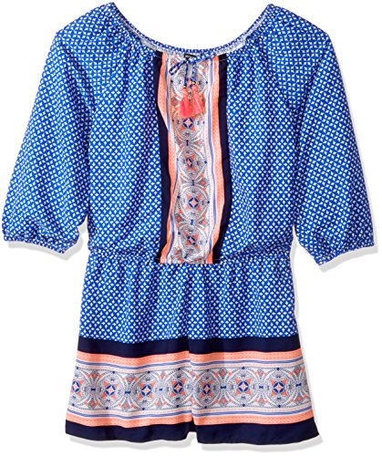 My Michelle Big Girls' Printed Long Sleeve Romper with Tassel Tie, Cobalt, L (My Michelle Clothes)