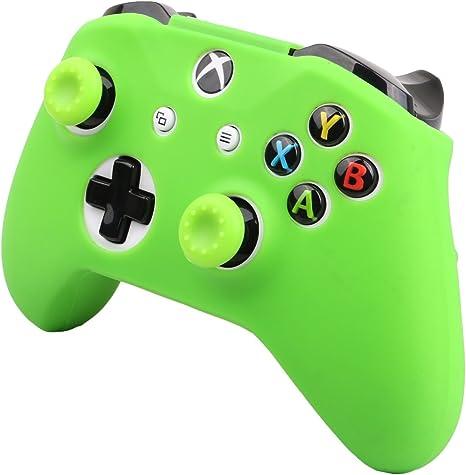 Pandaren® cubierta de silicona Fundas protectores antideslizante Solamente para Xbox One S, Xbox One X Mando x 1 (verde) + Thumb grips x 2: Amazon.es: Videojuegos