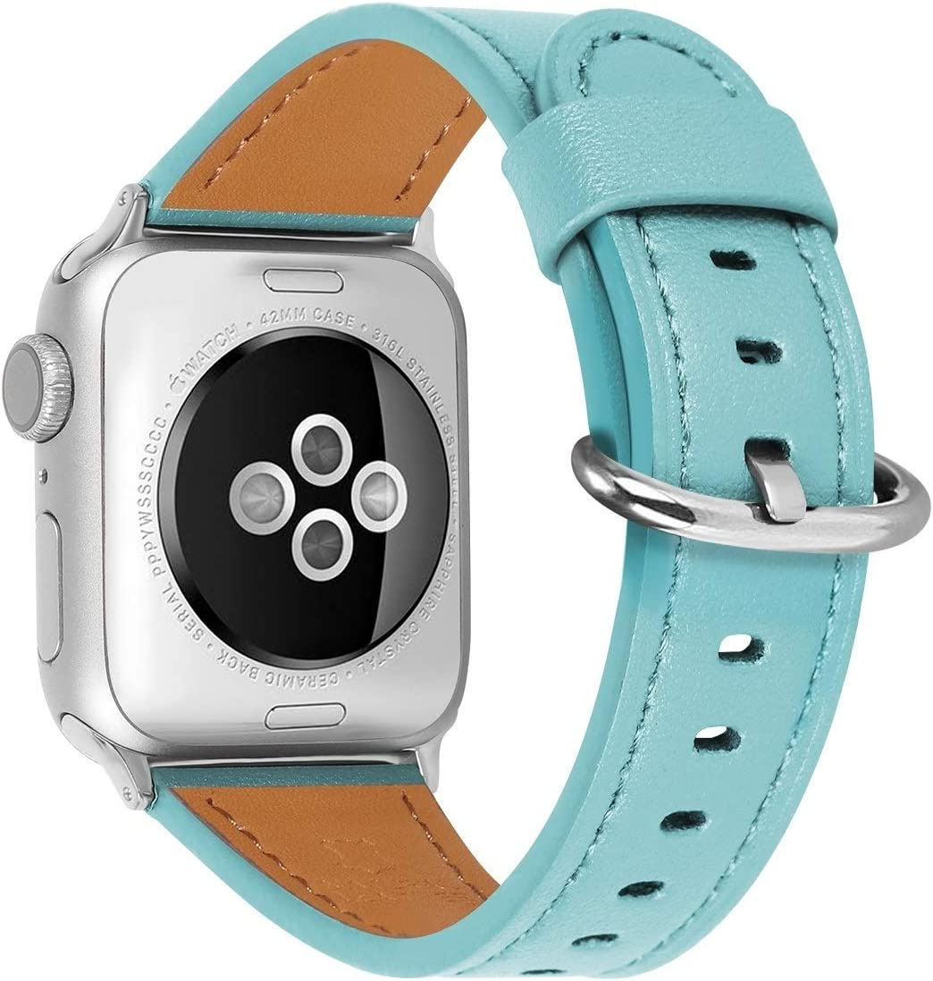 HUAFIY Compatible for apple Watch Band 38mm 40mm 42mm 44mm women Top Grain Leather Band Replacement Strap iWatch Series 6,Series 5, 4,3, 2 1,Sport, Edition (Tiffany Blue band+Silver Buckle, 38mm40mm)