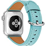 HUAFIY Compatible for apple Watch Band 38mm 40mm 42mm 44mm women Top Grain Leather Band Replacement Strap iWatch Series…