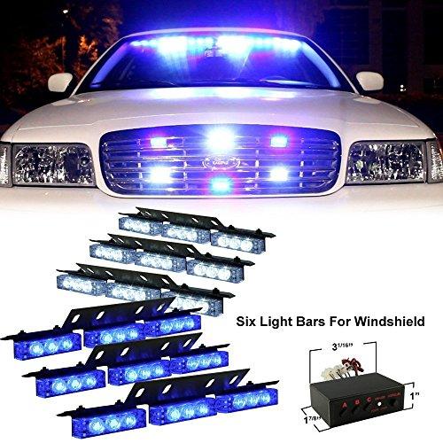 PACASK 54 LED Warning Use Flashing Strobe Lights Emergency Vehicle Strobe Lights Bar for Windshield Dash -