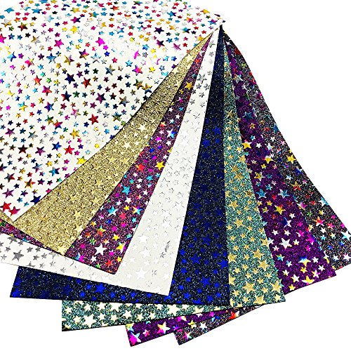 8 pcs 8 x 13 (20cm x 34cm) Glitter Leather Fabric Rainbow Gold Star Patterns Thick Canvas Back DIY Craft Assorted Colours (Gold Glitter)