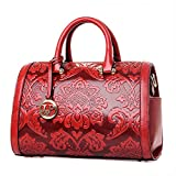 Women Baguette Boston Embossed Flower PU Leather Handbag Top Handle Pillow Barrel Design Satchel (Wine Red)