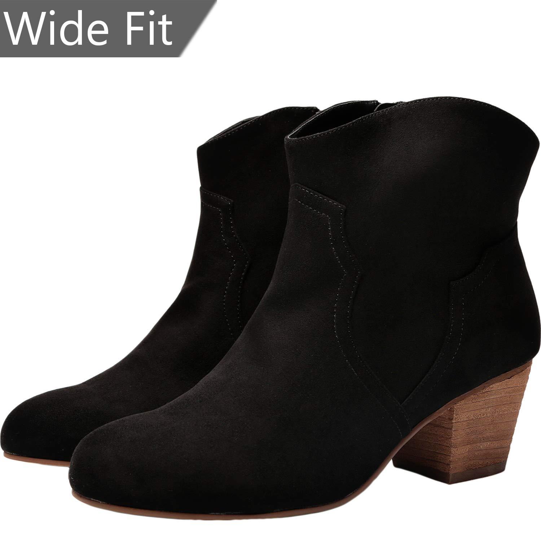 054dd55302c Women Wide Width Ankle Boots - Chunky Mid Heel Slip On Side Zipper Booties.
