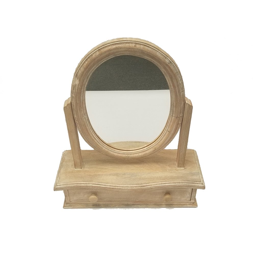 The Urban Port Oval Shaped Mango Wood Dressing Mirror Drawer, Brown