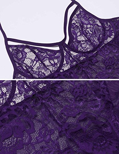 Halter Donna Lace indietro aperto V Body Piece Teddy Viola Sexy One Deep Lingerie Scallop dtBqB