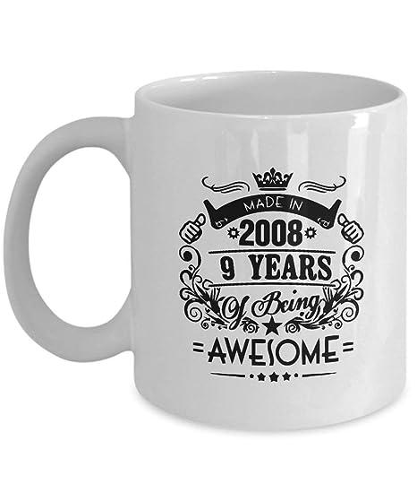 Taza de feliz cumpleaños - Hecho en 2008 9 años de ser ...